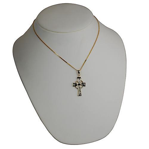 9ct goud 35x24mm hand gegraveerde knoop patroon Keltisch kruis met borgtocht op een beteugelen ketting 18 inch