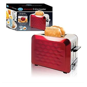 Red Stainless Steel  2-Slice Diamond Design Toaster With Extra Wide Slots