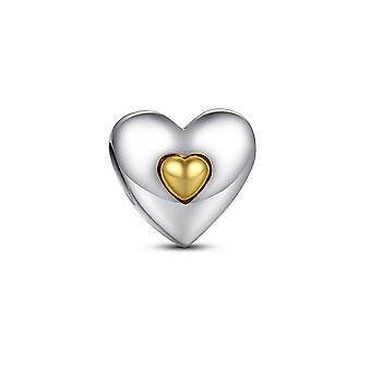 Bead Silver 925 heart and little Golden Heart charms