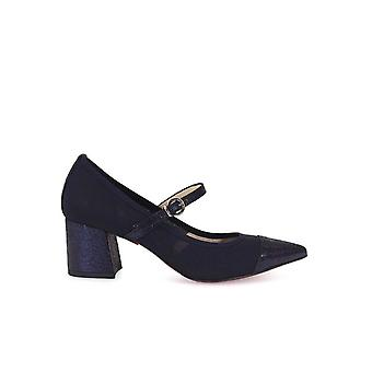 FRANCO COLLI DARK BLUE MEDIUM HEEL PUMPS