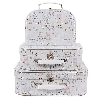 Sass & Belle Set Of 3 Bear Camp Suitcases