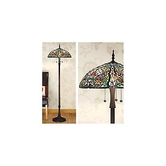 Interiors 1900 TG82SHL + FL998 Anderson 3 Light Tiffany Floor Lamp In