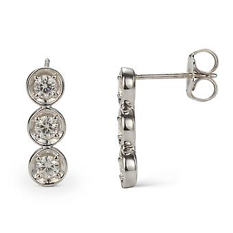 Forever Classic 3.25mm Round Moissanite Three Stone Drop Earrings, 0.78cttw DEW