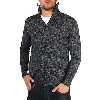 KRISP  Mens Soft Woollen Knit Zip Up Funnel Neck Grandad Cardigan Jumper Sweater Top