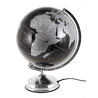 Globus med lys d32cm sort & sølv