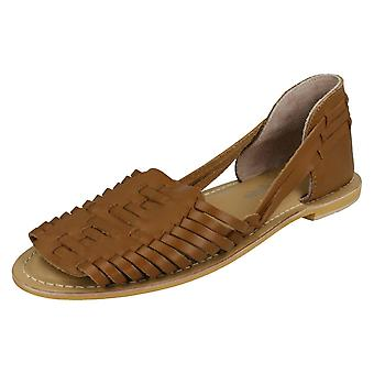 Ladies Leather Collection Flat Weave Sandals F00145 - Tan Leather - UK Size 4 - EU Size 37 - US Size 6