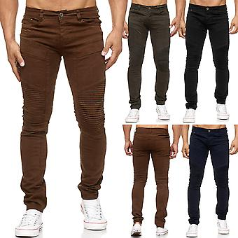 Men's Jeans Denim Pants Biker Knee Ribbed Seams Tapered Leg