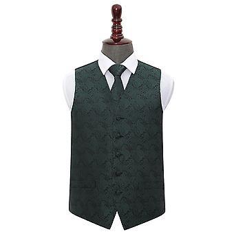 Chaleco de boda Paisley verde esmeralda y lazo Set