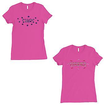 Stars And Stripes BFF Matching Shirts Womens Hot Pink Cute Gift Set