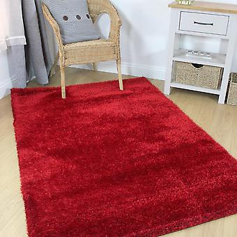 Velvet Plain Red  Rectangle Rugs Plain/Nearly Plain Rugs