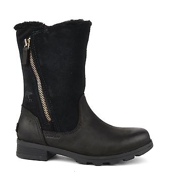 Sorel Emelie Foldover Black Leather And Suede Boot