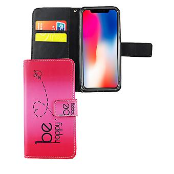 Mobile phone case pouch for phone Apple iPhone X be happy pink
