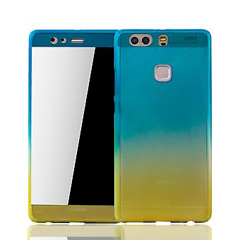 Huawei P9 plus mobile case protection-case full cover tank protection glass blue / yellow