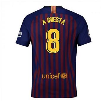 2018-2019 Barcelona Home Nike Football Shirt (A Iniesta 8)