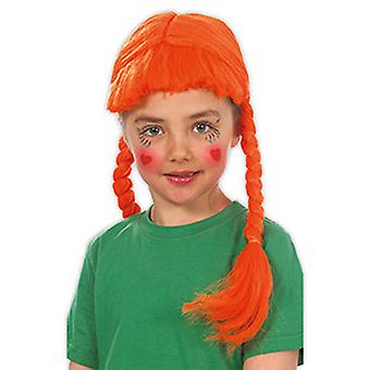 Brat child wig orange pony wig shoulder-length braids accessory