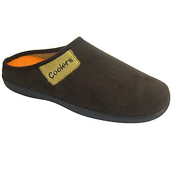 Coolers Mens Faux Suede Contrast Fleece Lined Mule Slippers