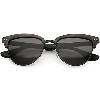 5e8a941b4f Faux Wood Semi Rimless Horn Rimmed Sunglasses Square Lens 53mm