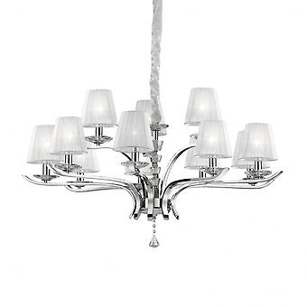Ideal Lux Pegaso 12 Light Large Chrome Chandelier With Shades