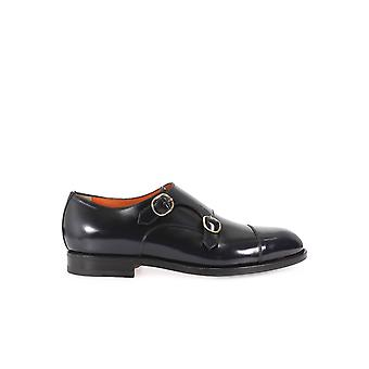SANTONI BLUE BLACK LEATHER MONK STRAP