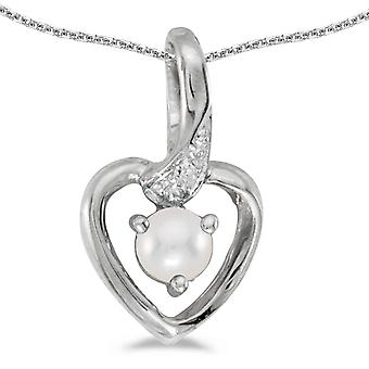 14k White Gold Freshwater Cultured Pearl And Diamond Heart Pendant with 18
