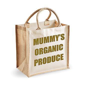 Medelstora naturliga guld Jute väska Mummys ekologiska produkter