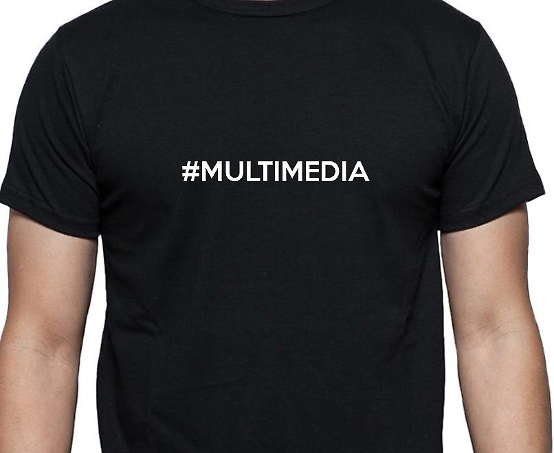 #Multimedia Hashag Multimedia Black Hand Printed T shirt