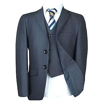 高级意大利切割男孩正式西装在卡雷拉木炭灰色