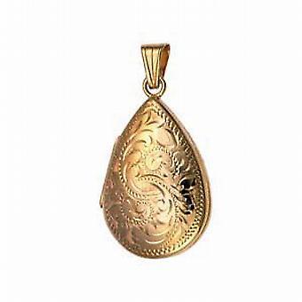 Oro 9ct a medaglione goccia inciso di mano 30x20mm
