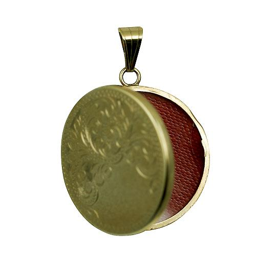 9ct Gold 29mm flat round half hand engraved Locket