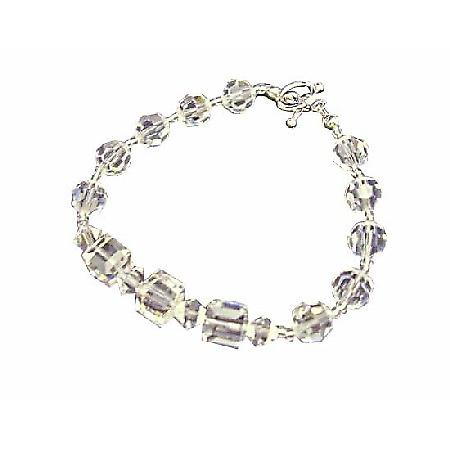 Round Clear Crystal Beads Cube Clear Crystal Bracelet 8mm Cube Round w/ Bicone 4mm Clear Swarovski Crystals Bracelet