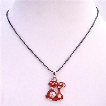 Röd emalj sexiga röda Kitty hänge med svart pärlstav Choker halsband