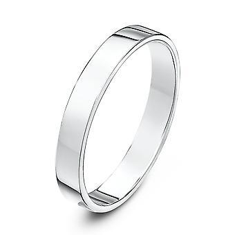 Звезда обручальные кольца 18-каратного белого золота тяжелых квартиру суд форму 3 мм обручальное кольцо