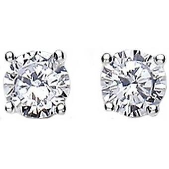 Bella 6mm Cubic Zirconia Stud Earrings - Silver/White