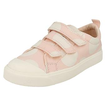 Childrens Boys Girls Clarks Hook And Loop Canvas Shoes City Flare Lo K