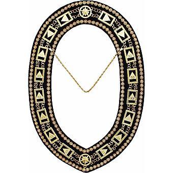 33 º grado-Rito escocés rhinestone cadena collar-oro/plata en negro + estuche libre