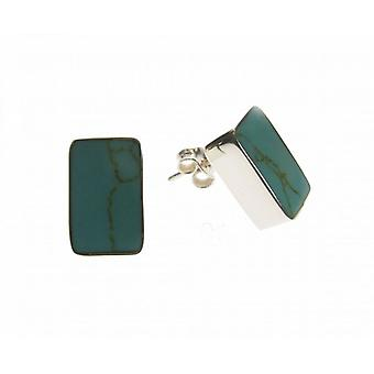Cavendish French Sterling Silver and Formed Turquoise Oblong Stud Earrings