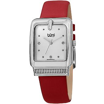 Burgi Women's BUR192 Quartz Diamond Marker Rectangle Case Leather Strap Watch BUR192RD