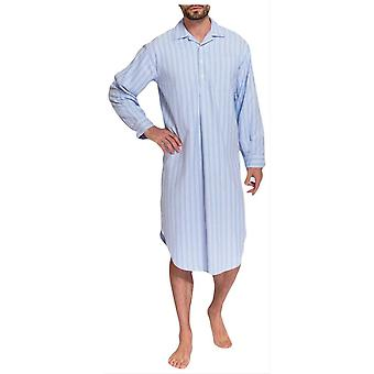 British Boxers Westwood Stripe Two Fold Flannel Nightshirt - Blue
