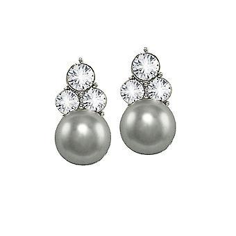 Ewige Sammlung Signatur Silberglas Perle und Kristall Silberfarbe Gestüt Ohrstecker