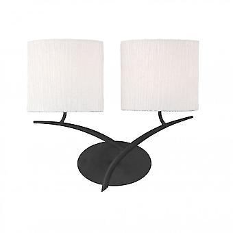 Mantra Eve Wall Lamp Switched 2 Light E27, Antracite With White Oval Shades