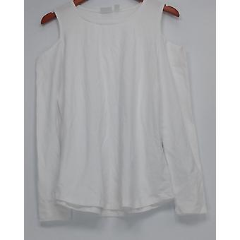 Femmes avec contrôle Cold-Shoulder Cotton Blend Knit Top White A292378
