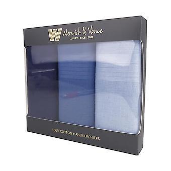 3 Pack Herre/gentlemens lommetørklæder bomuld blå satin stribe grænse gave boxed