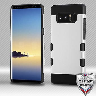 MYBAT Rubberized Space Silver/Black TUFF Trooper Hybrid Protector Cover for Galaxy Note 8