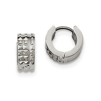 5.75mm Stainless Steel Polished Studded Hinged Hoop Earrings