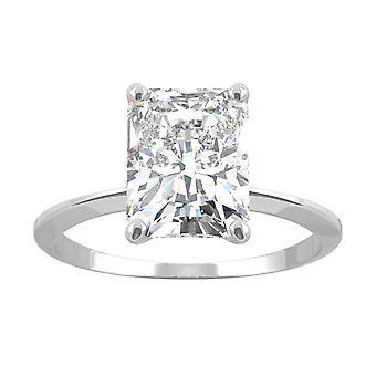14K White Gold Moissanite by Charles & Colvard 9x7mm Radiant Engagement Ring, 2.70ct DEW