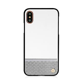 iPhone X 50:50 White & Silver Perforation Hard Shell