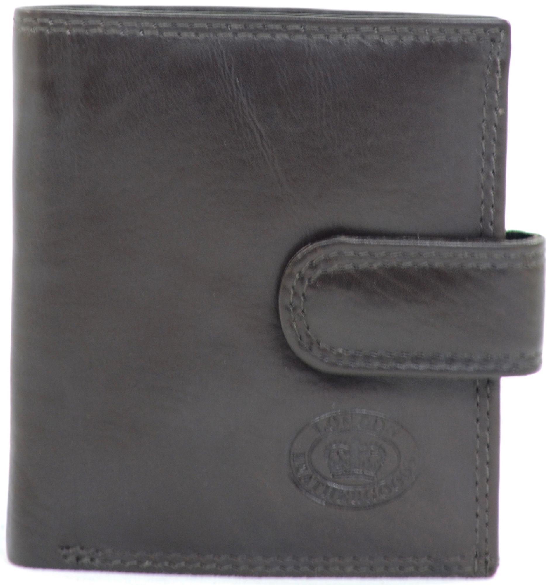 Mens Leather Bi-Fold Credit Card / Money / Coin Wallet - Dark Brown