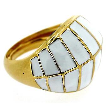 Kenneth Jay Lane bianco smalto & anello della cupola d'oro