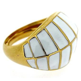Kenneth Jay Lane White Enamel & Gold Dome Ring