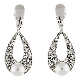 Clip On Earrings Store Silver Clear Crystal & Pearl Teardrop Bridal Clip on Earrings